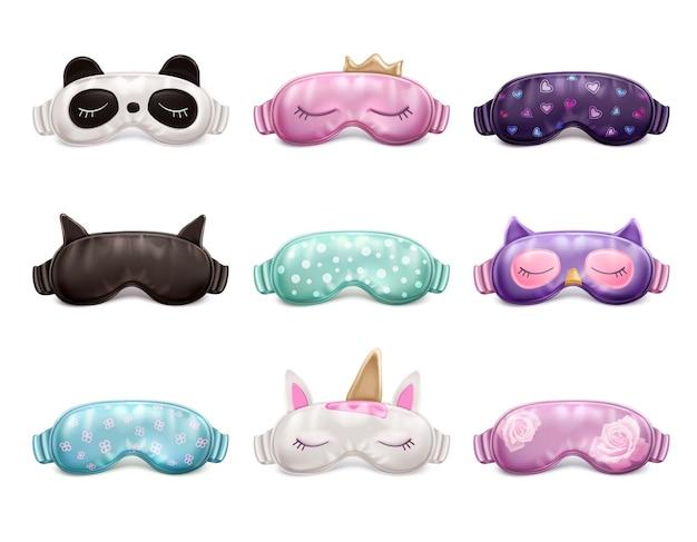 Realistischer satz süßer bunter schlafmasken mit verschiedenen mustern isolierte illustration