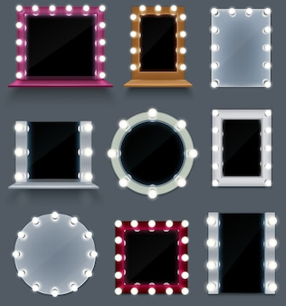 Realistischer satz von bunten schminkspiegeln unterschiedlicher form mit isolierten glühbirnen