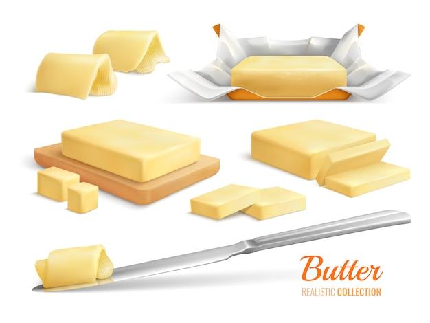 Realistischer satz von butterscheiben klebt und rollt isolierte illustration