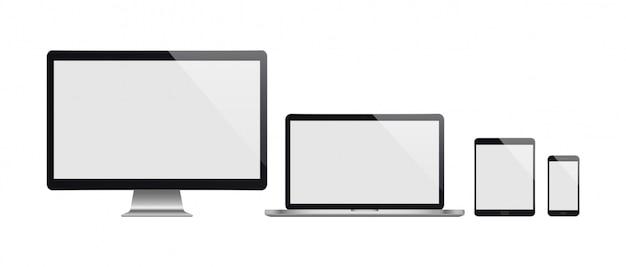 Realistischer satz von computer, laptop, tablet und smartphone. realistische illustration.