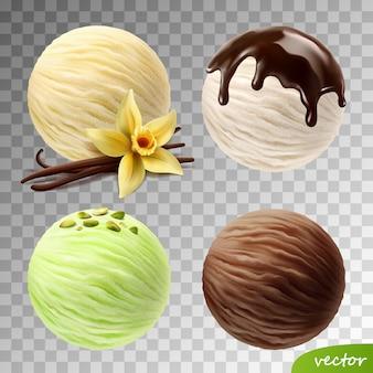 Realistischer satz von eiskugeln (vanilleblüte und -stangen, pistazien, fließende schokolade)