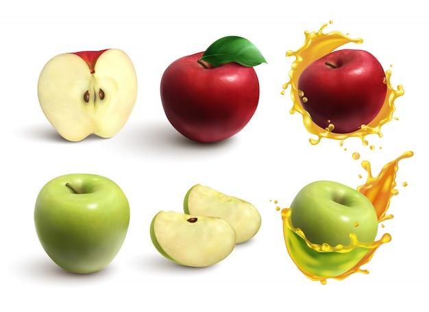 Realistischer satz von ganzen und geschnittenen saftigen roten und grünen äpfeln, die auf weiß isoliert werden