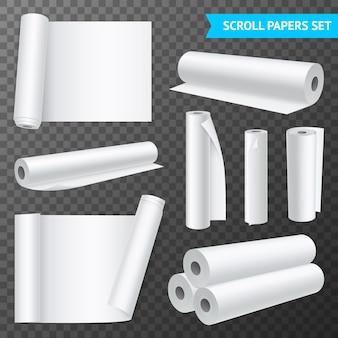 Realistischer satz von isolierten sauberen weißen papierrollen auf transparenter hintergrundillustration