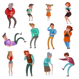 Realistischer satz von männlichen und weiblichen lachenden erwachsenen und kindern, die auf weiß isoliert werden