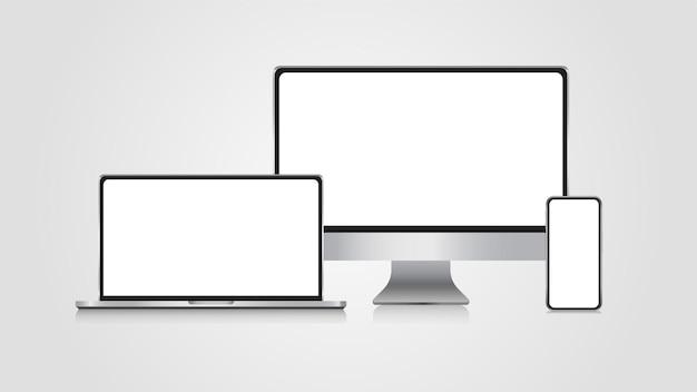 Realistischer satz von monitor-laptop-smartphone 3d-modell-set