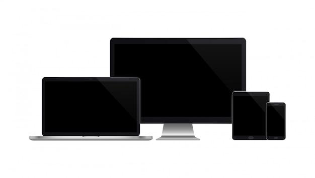 Realistischer satz von monitor, laptop, tablet, smartphone auf weiß
