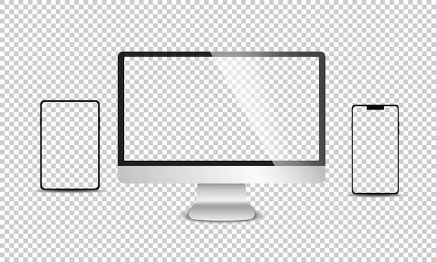 Realistischer satz von monitor, laptop, tablet, smartphone