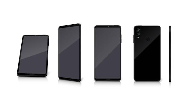 Realistischer satz von vorderen, hinteren und seitlichen smartphone-modellen auf weiß isoliert