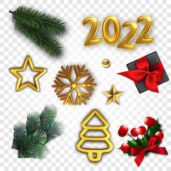 Realistischer satz weihnachtselemente. 3d-zeichen des neuen jahres. rendern sie goldene zahlen 2022, sterne, schneeflocken. natürliche weihnachtsbaumzweige und geschenk.