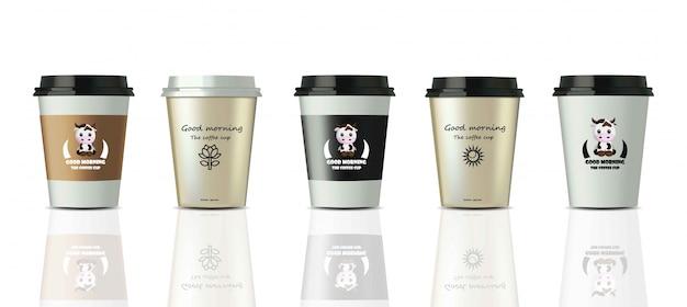 Realistischer satzspott der kaffeetassen herauf vektor. design-label-logo