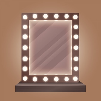 Realistischer schminkspiegel mit glühlampen