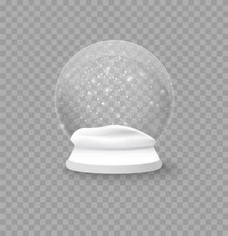 Realistischer schneeball von weihnachten und neujahr, magische weihnachtskugel. winter in einer glaskugel, einer kristallkuppel mit einer schneeflocke. leere schneekugel lokalisiert auf einem transparenten hintergrund.