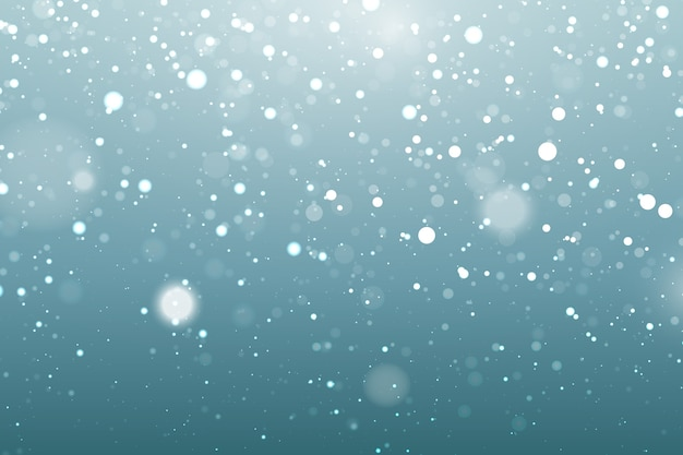 Realistischer schneefallhintergrund mit bokeh elementen