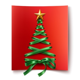 Realistischer schnür-weihnachtsbaum aus grünen schnürsenkeln