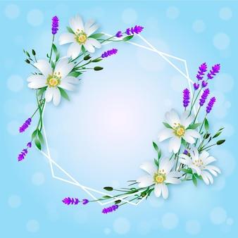 Realistischer schöner frühlingsblumenrahmen