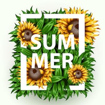 Realistischer schöner grasrahmen mit sonnenblumen