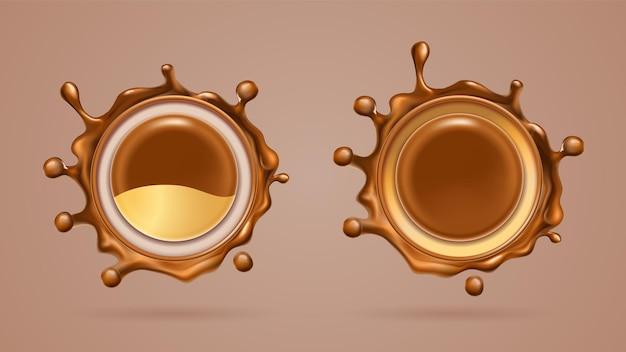 Realistischer schokoladen- und milchspritzer