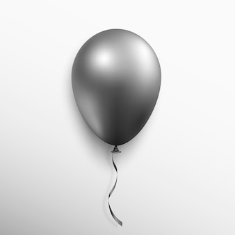 Realistischer schwarzer ballon lokalisiert