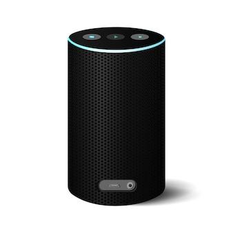 Realistischer schwarzer bluetooth-lautsprecher mit power blue-leitung.