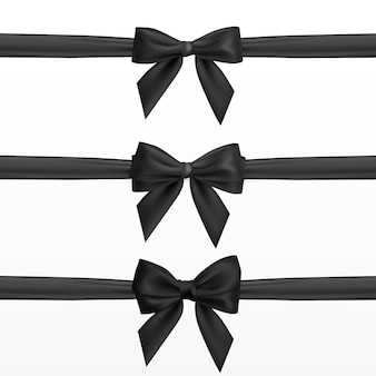 Realistischer schwarzer bogen. element für dekorationsgeschenke, grüße, feiertage.