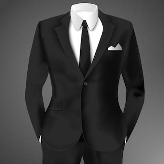 Realistischer schwarzer business-anzug