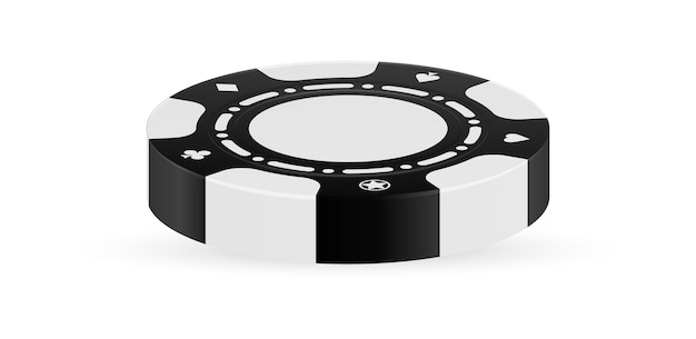 Realistischer schwarzer chip lokalisiert auf weißem hintergrund