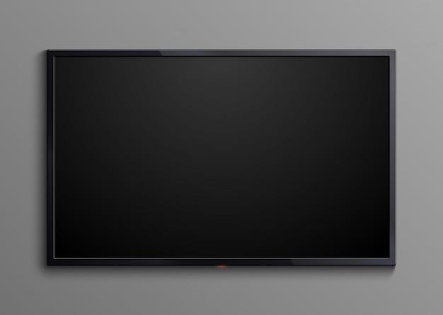 Realistischer schwarzer fernsehbildschirm lokalisiert. leere geführte monitoranzeige 3d