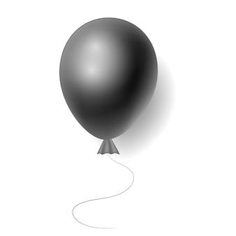 Realistischer schwarzer heliumballon auf weißem hintergrund