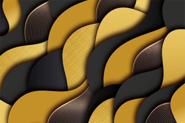 Realistischer schwarzer hintergrund mit goldenen texturen