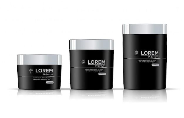 Realistischer schwarzer kosmetischer cremebehälter
