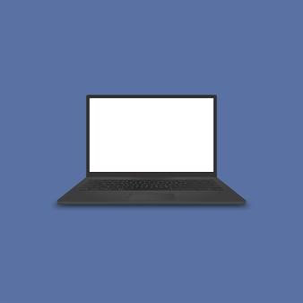 Realistischer schwarzer laptop-computer mit premium-vektor des leeren weißen bildschirms