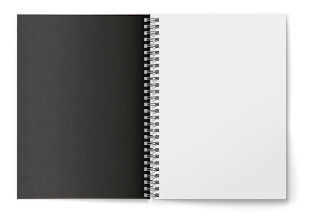 Realistischer schwarzer leerer horizontaler offener realistischer spiralblock.