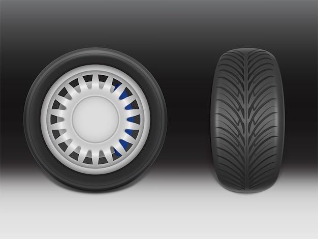 Realistischer schwarzer reifen 3d mit bremssattel in der seiten- und vorderansicht, glänzender stahl und gummi