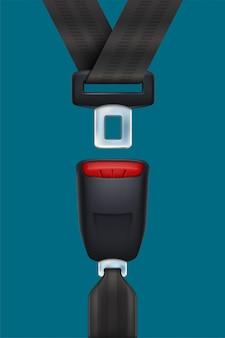 Realistischer schwarzer sicherheitsgurt auf blau