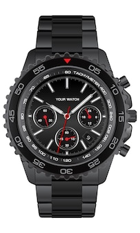 Realistischer schwarzer stahluhruhrchronograph auf weißem hintergrunddesign für luxusillustration der männer.