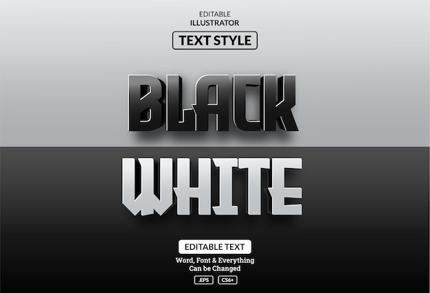Realistischer schwarzweiss-3d-textstil, bearbeitbarer texteffekt