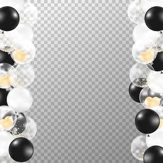 Realistischer schwarzweiss-ballonrahmen