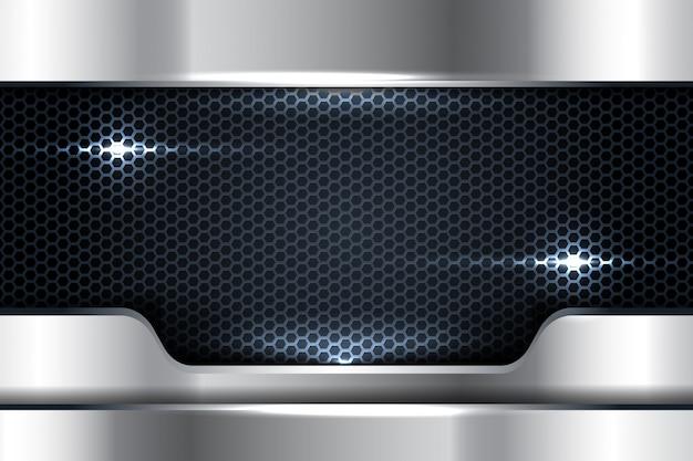 Realistischer silberner glatter hintergrund 3d mit hexagonmaschenkombination