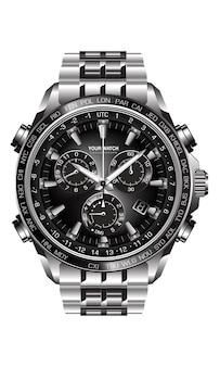 Realistischer silberner schwarzer stahluhruhrchronograph auf weißem hintergrunddesignluxus für männer.