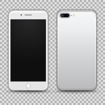 Realistischer silberner smartphone lokalisiert auf transparentem hintergrund. vorder- und rückansicht