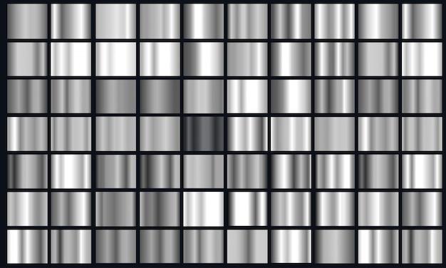 Realistischer silberner steigungs-textursatz. glänzender metallfolien-gradientensatz