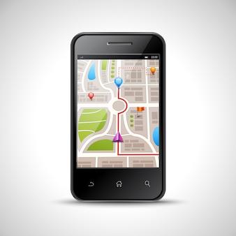 Realistischer smartphone mit gps-navigationskarte auf dem schirm lokalisiert