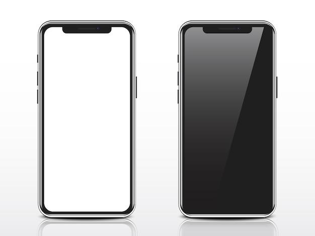 Realistischer smartphone mit weißem und schwarzem leerem bildschirm