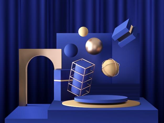 Realistischer sockel 3d auf blauem hintergrund mit goldelementen, scheibenpodest mit kugeln, ringen und kästen, abstraktes minimales konzept, leerraum, sauberes design