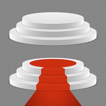 Realistischer sockel eingestellt - sockel 3d mit rotem teppich