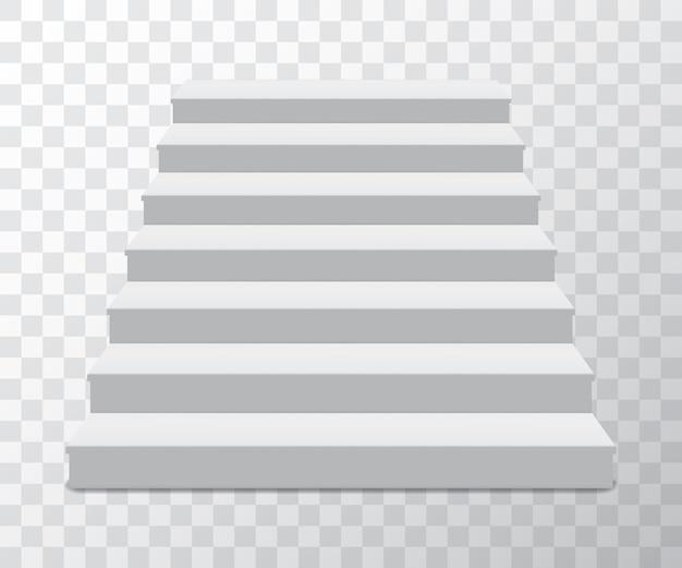 Realistischer sockel mit treppe. tribüne, produktpodest, plattformbühne. leere minimale geometrische form für den ausstellungsraum