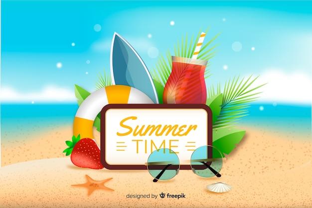 Realistischer sommerhintergrund mit sommergegenständen