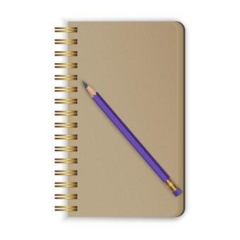 Realistischer spiralblock. realistisches skizzenbuch mit einem einfachen bleistift. Premium Vektoren