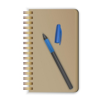 Realistischer spiralblock. realistisches skizzenbuch mit einem stift.