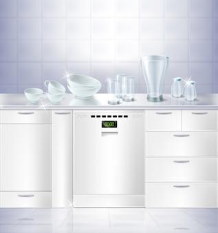 Realistischer spott 3d oben des küchenraumes mit weißer sauberer boden- und fliesenwand.